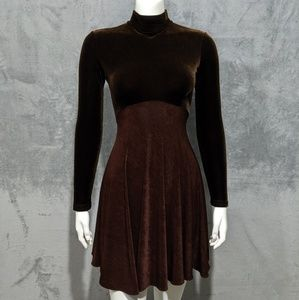 Cache brown velvet mock neck long sleeve dress